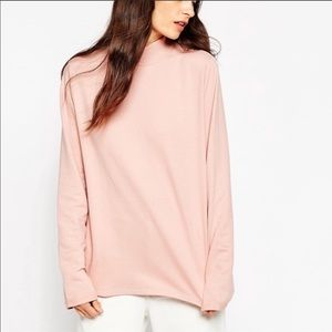 ASOS blush pink mock neck long-sleeve shirt